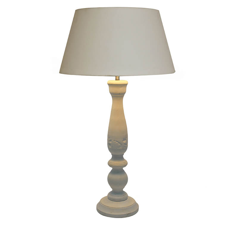 Floral Carved White Wood Table Lamp With White Drum Shade