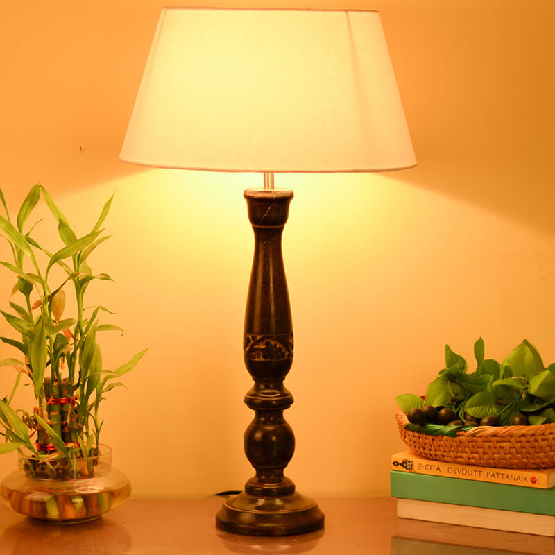 Floral Carved Black Wood Table Lamp With White Drum Shade
