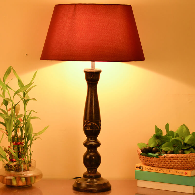 Floral Carved Black Wood Table Lamp With Red Shade