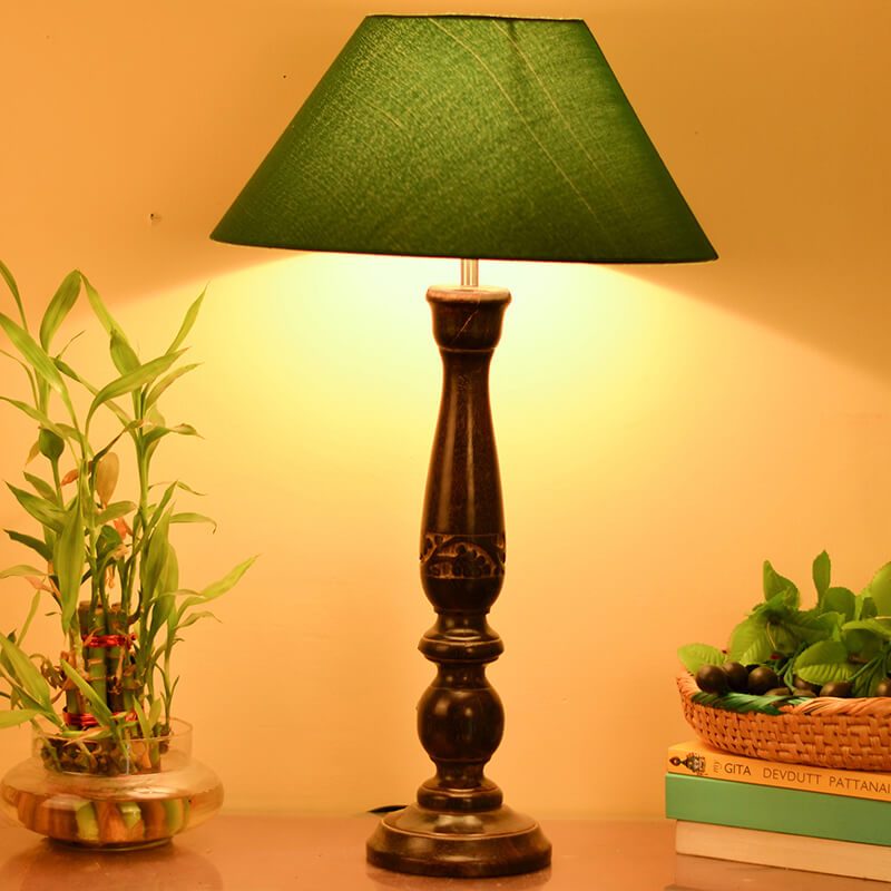 Floral Carved Black Wood Table Lamp With Green Shade