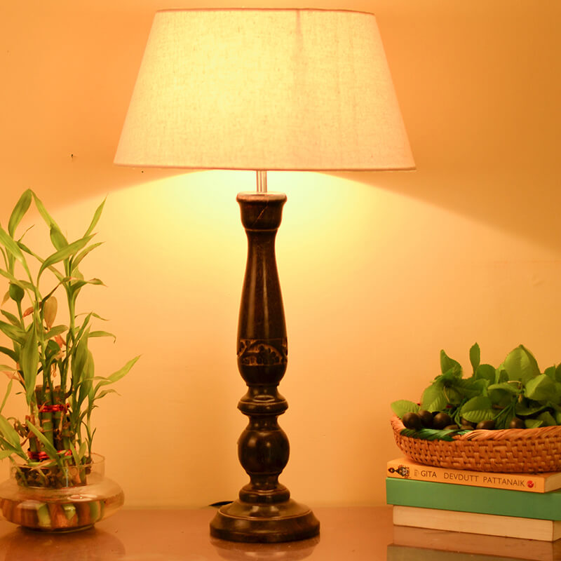 Floral Carved Black Wood Table Lamp With Khadi Shade