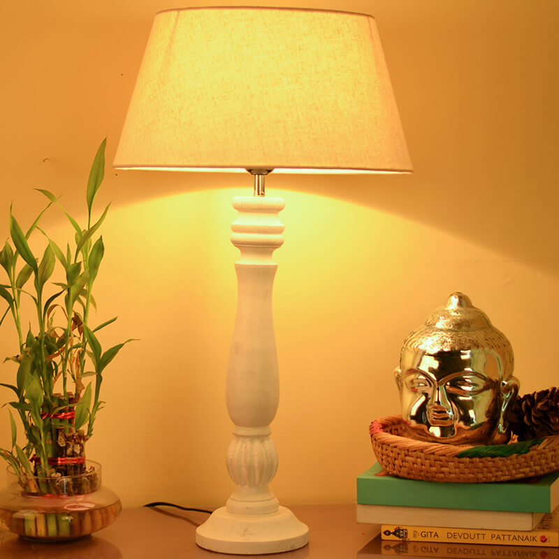 Classic Victorian White Wood Table Lamp With Khadi Shade
