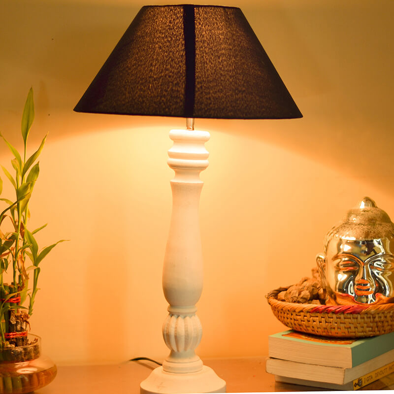 Classic Victorian White Wood Table Lamp With Blue Shade