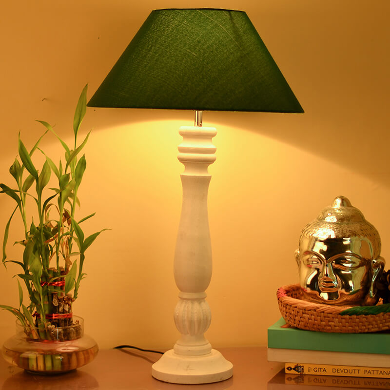 Classic Victorian White Wood Table Lamp With Green Shade