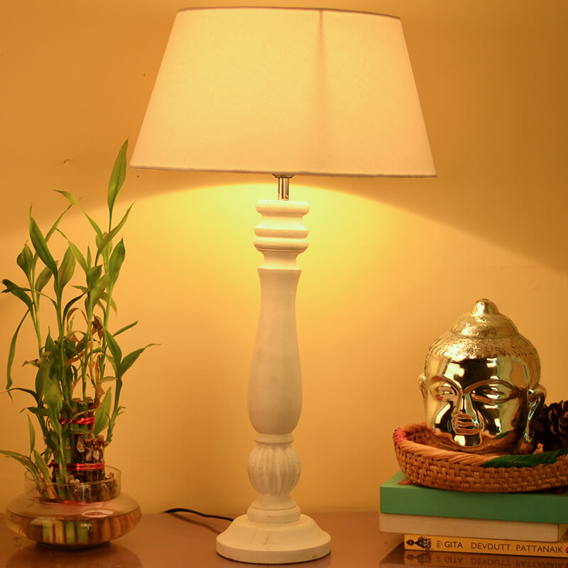 Classic Victorian White Wood Table Lamp With White Drum Shade