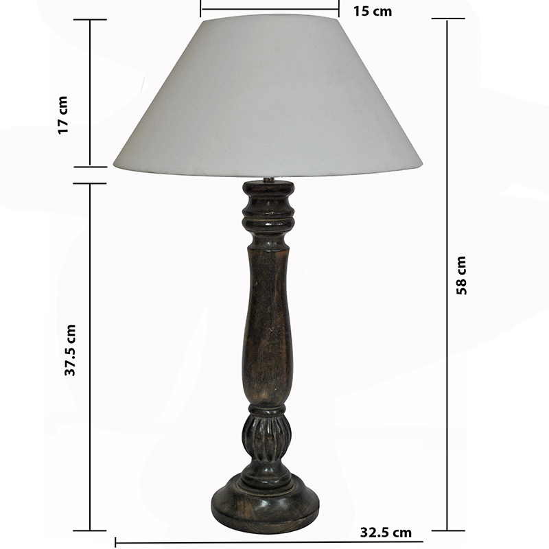 Classic Victorian Black Wood Table Lamp With White Shade