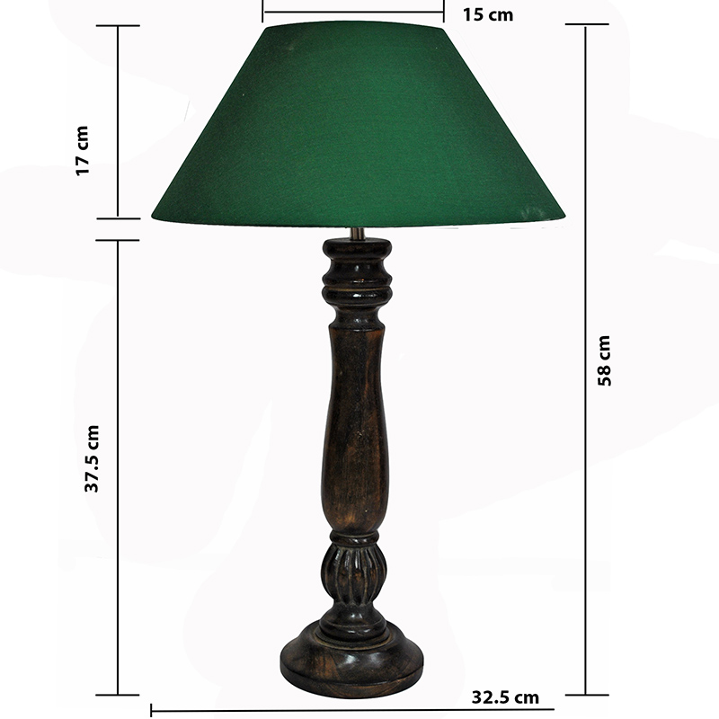 Classic Victorian Black Wood Table Lamp With Green Shade