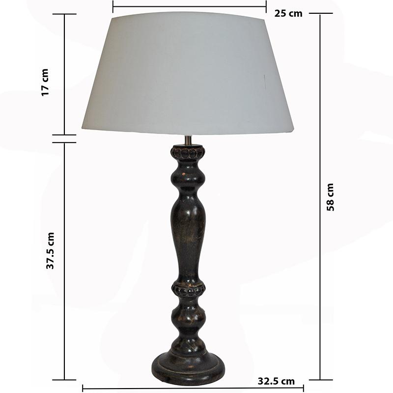 Eureka Polka Black Wood Table Lamp With White Drum Shade