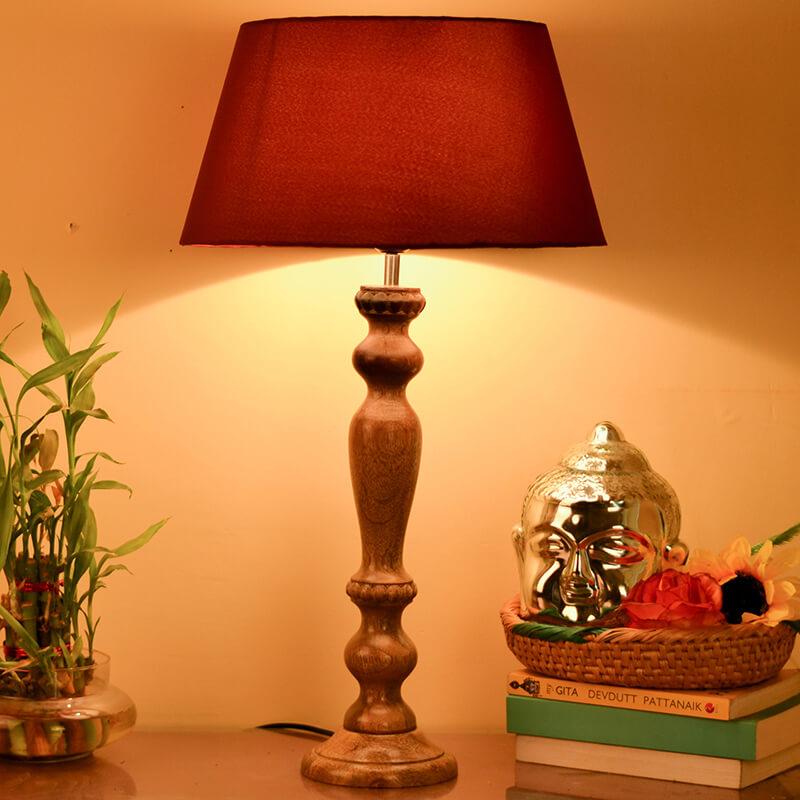 Eureka Polka Natural Wood Table Lamp With Red Shade