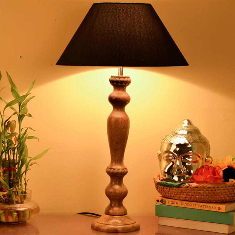 Eureka Polka Natural Wood Table Lamp With Blue Shade