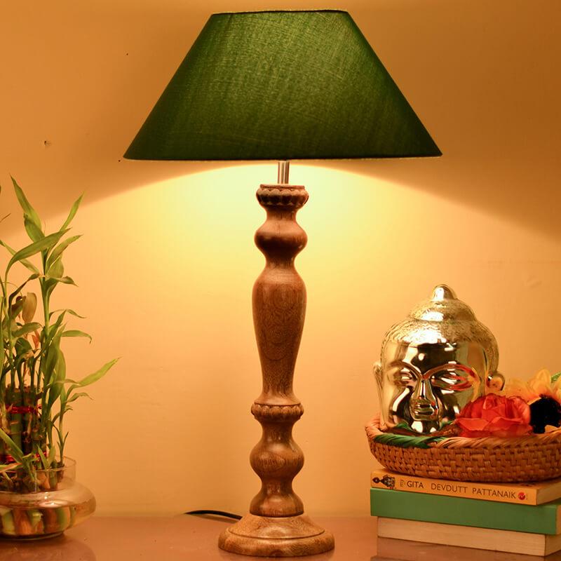 Eureka Polka Natural Wood Table Lamp With Green Shade