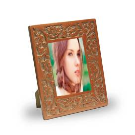 Vintage Copper Floral Carving Wooden Photo Frame