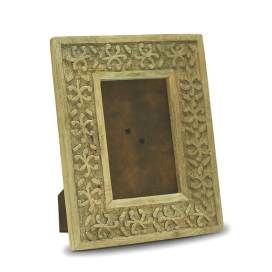 Classic Snowflake Wood Carved Photo Frame, Natural Finish