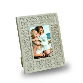 Classic Snowflake Wood Carved Photo Frame, Silver