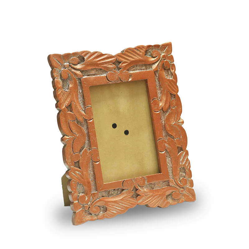Wooden Carved Flower Photoframe, Copper