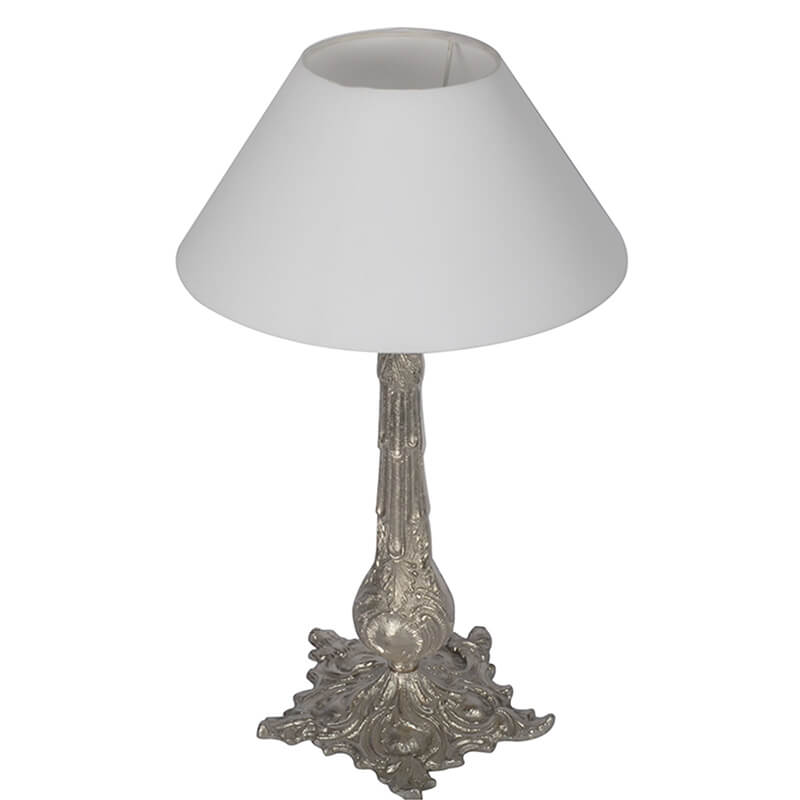 Victorian Carving Silver Brushed Lamp With White Cone Shade