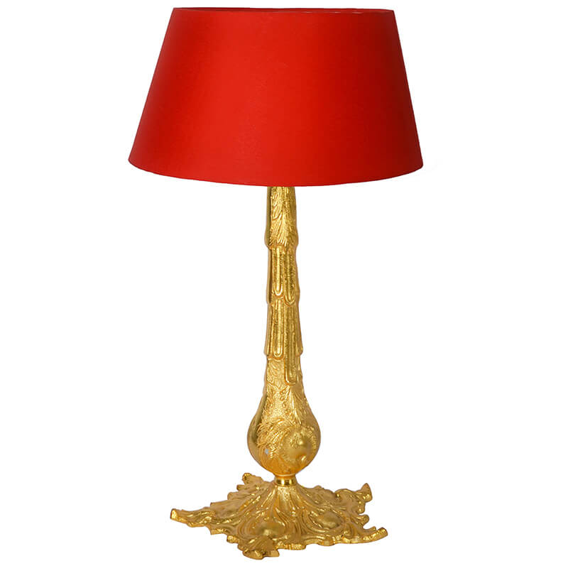 Victorian Carving Gold Brushed Lamp With Red Shade