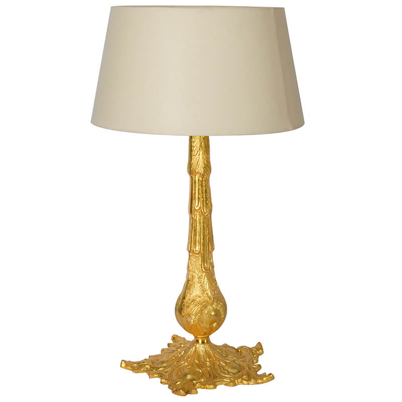 Victorian Carving Gold Brushed Lamp With Khadi Shade