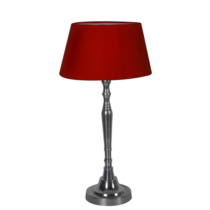Imperial Nickel Brushed Lamp With Red Shade