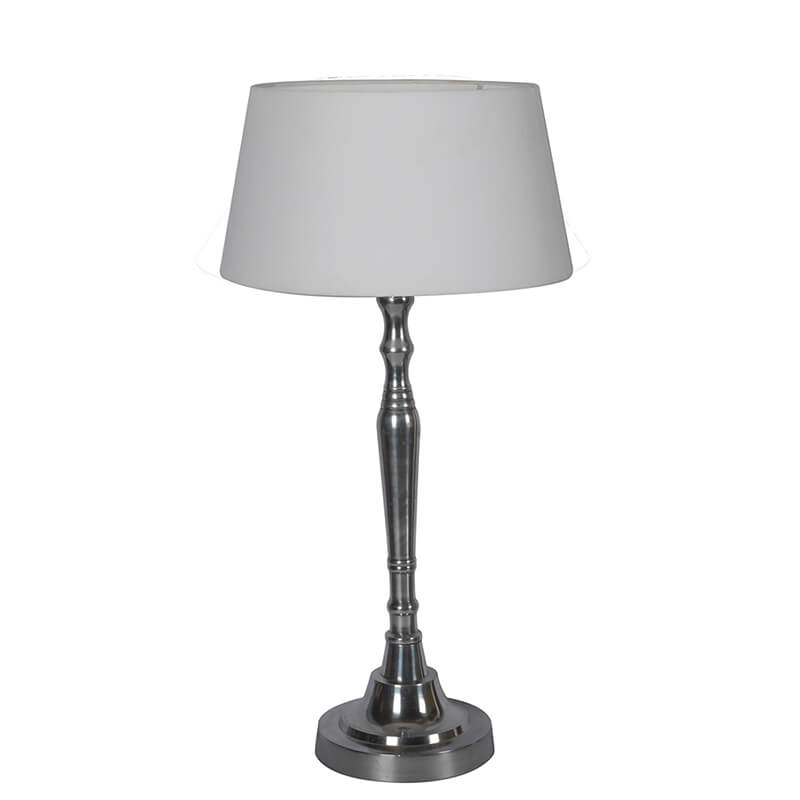 Imperial Nickel Brushed Lamp With White Drum Shade