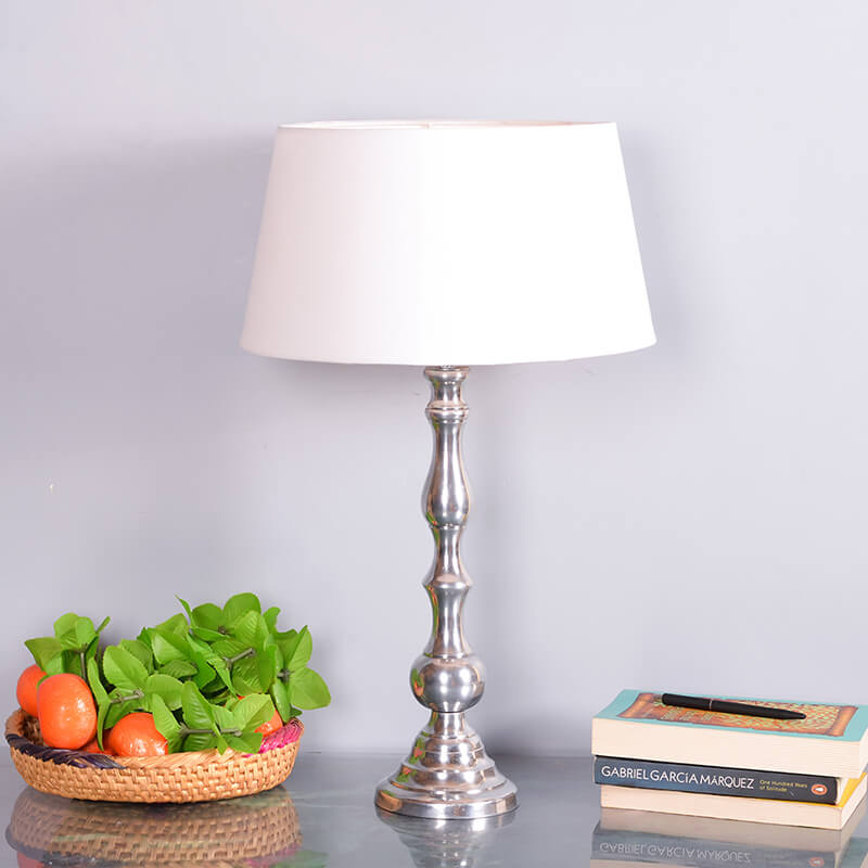 Teardrop Chrome Lamp With White Drum Shade
