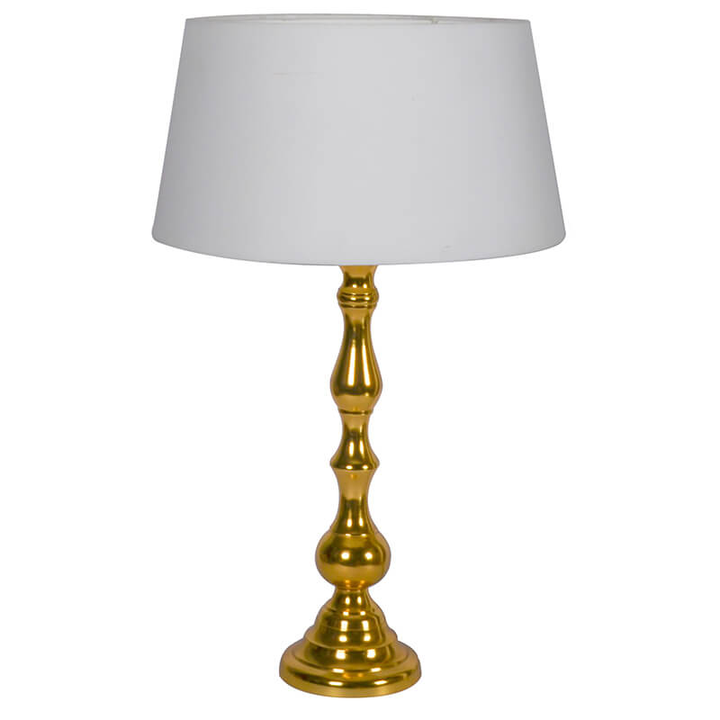 Teardrop Gold Brushed Lamp With White Drum Shade