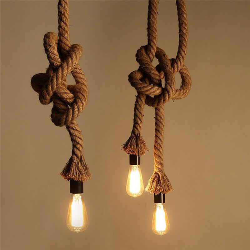 Edison Lamp Rustic Rope Hanging/Pendant E27 Holder, Decorative, Hanging Light Vintage Retro Ceiling Light, Beige Color. 1.2 Meter