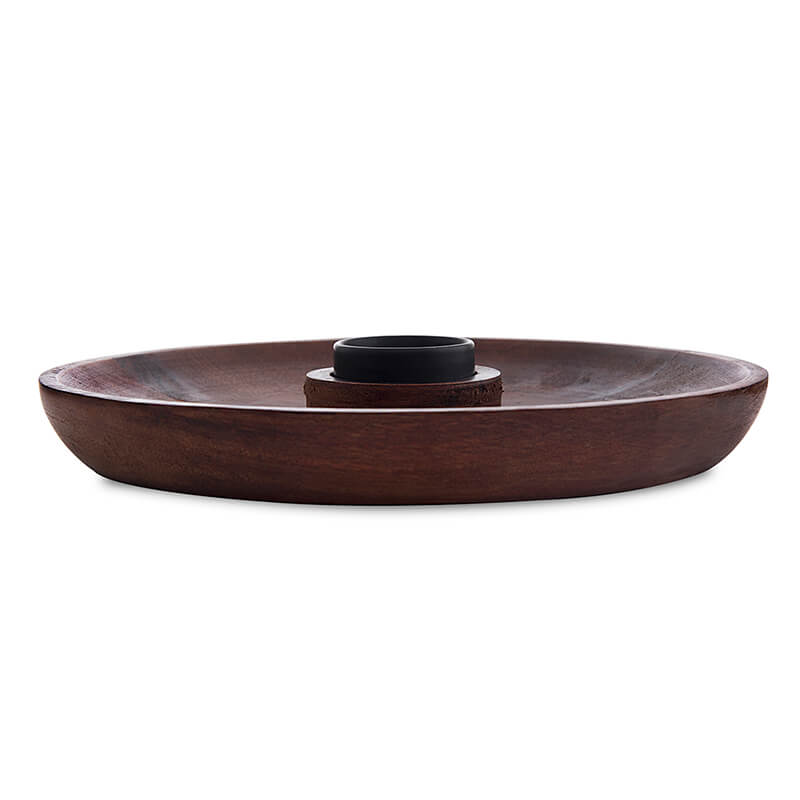 "Wooden Chip-n-Dip 12"", Mahogany Finish, Nachos & Snack Serving Platter"