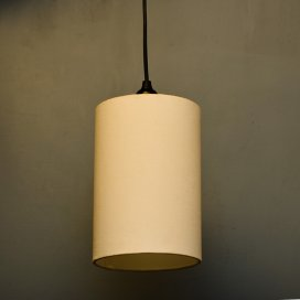 Classic Cylinder White Shade Pendant, Hanging Light With Fixture