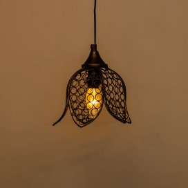 Hanging Black Steel Lotus Light, Hanging Light and Fixture