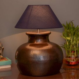Antique Copper Hammered Pitcher Table Lamp with Blue Shade