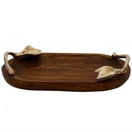 Wooden Oval Serving, Snack Tray with Silver Berry Metal Handle, Sizzler, Platter