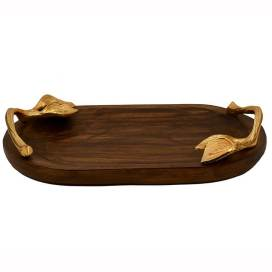 Wooden Oval Serving, Snack Tray with Golden Berry Metal Handle, Sizzler, Platter