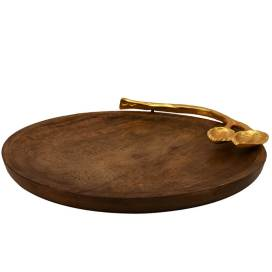 Wooden Round Cheese Platter with Golden Floral Handle, Serving Tray, Snacks and Fruits