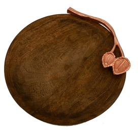 Wooden Round Cheese Platter with Copper Floral Handle, Serving Tray, Snacks and Fruits