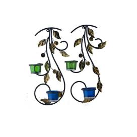 Wall Hanging leafy vine candle stand, Wall scone with Green and Blue Glass and candles