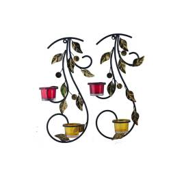 Wall Hanging leafy vine candle stand, Wall scone with Red and Yellow Glass and candles
