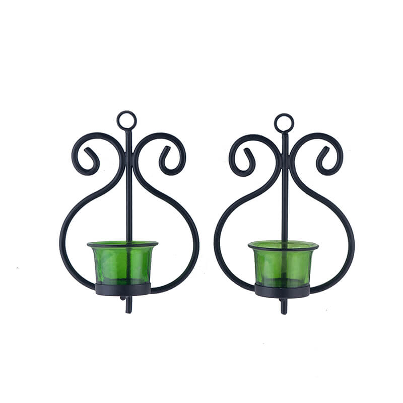 Set of 2 Decorative Wall Sconce/Candle Holder with Green Glass and Free T-light Candles