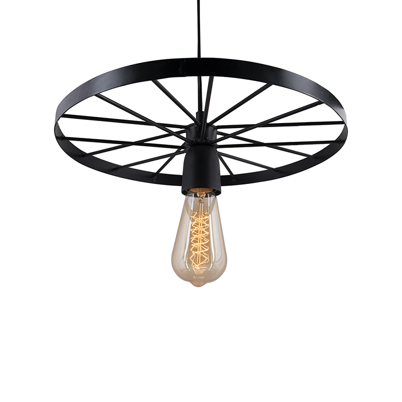 "Hanging Wheel Edison Hanging Light,13"" Hanging Lamp"