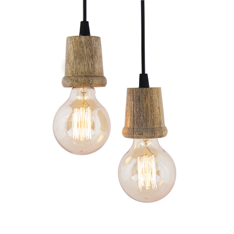 Edison Filament Wooden Taper Bulb Holder, Urban, Retro, Nordic Style, With Fixture, Set of 2