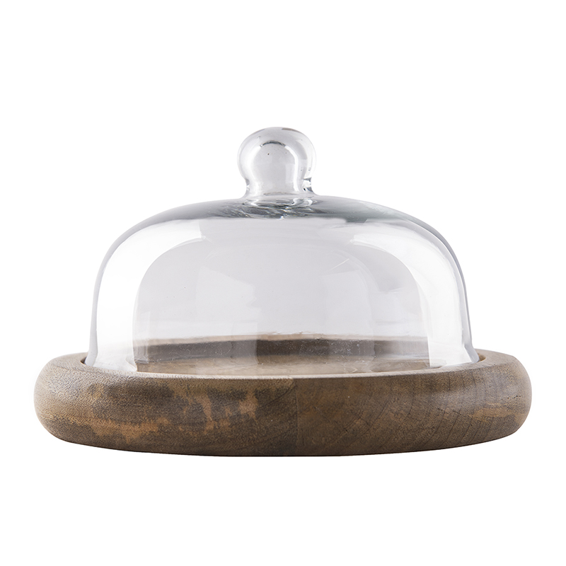 Rustic Flat Base Cake/Cupcake Stand with Glass Dome, Cookie/Dessert Serving Platter
