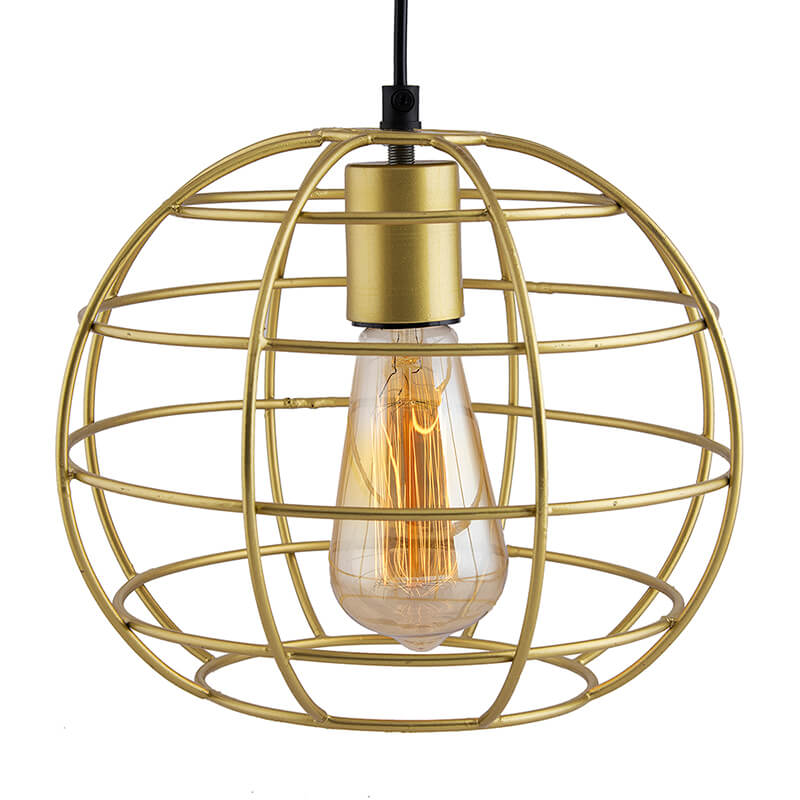 Golden Edison Filament Hanging Classic Sphere, E27 Hanging Ceiling Light for LED/Filament Bulb, Decorative Urban Retro Lighting