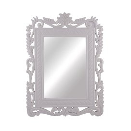 French Carved Royal Vintage Decorative Wooden Wall Mirror, Classic Antique White