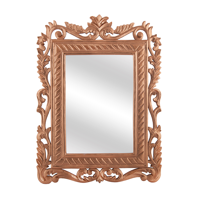French Carved Royal Vintage Decorative Wooden Wall Mirror, Antique Rustic Copper
