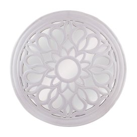 Round Floral carved Wooden Wall Mirror, Royal Antique Vintage Mirror, Classic White