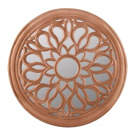 Round Floral carved Wooden wall mirror, Royal Antique Vintage Mirror, Classic Copper