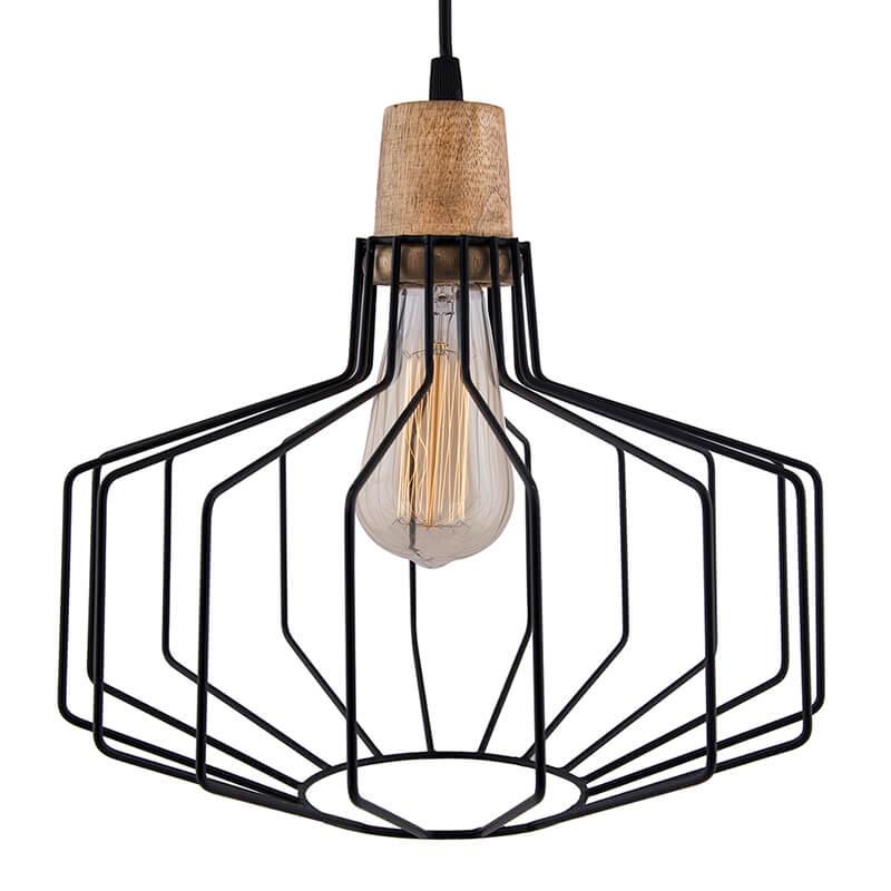 Industrial Loft Black Metal Pitcher Cage Wood Art Pendant, Hanging Ceiling Lights, Edison Vintage Light