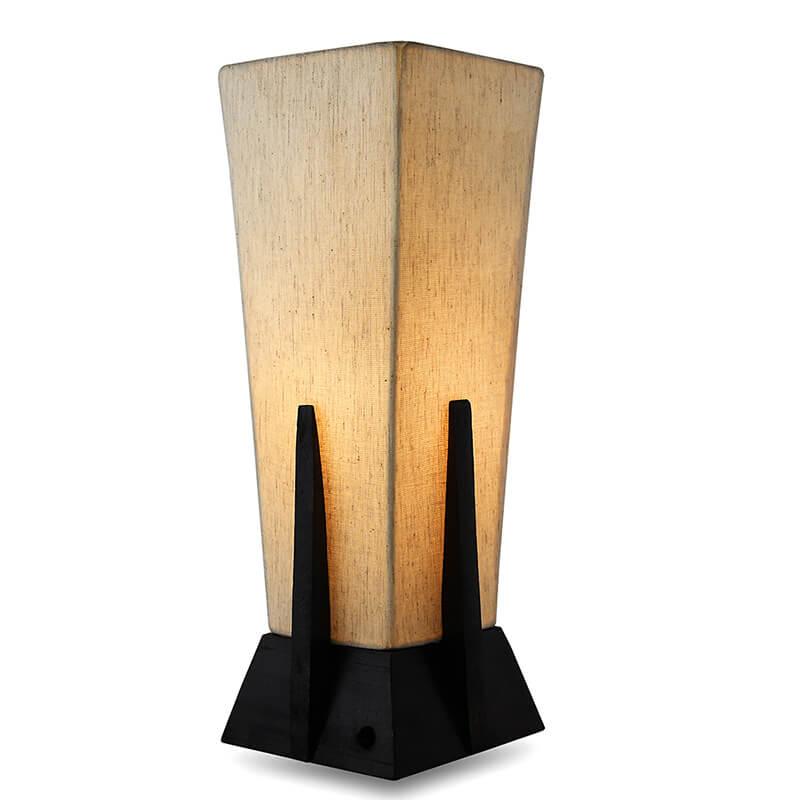 Bedside Table Lamp, Retro Style Walnut Wood Finish Pyramid Table Lamp With Khadi Fabric Shade