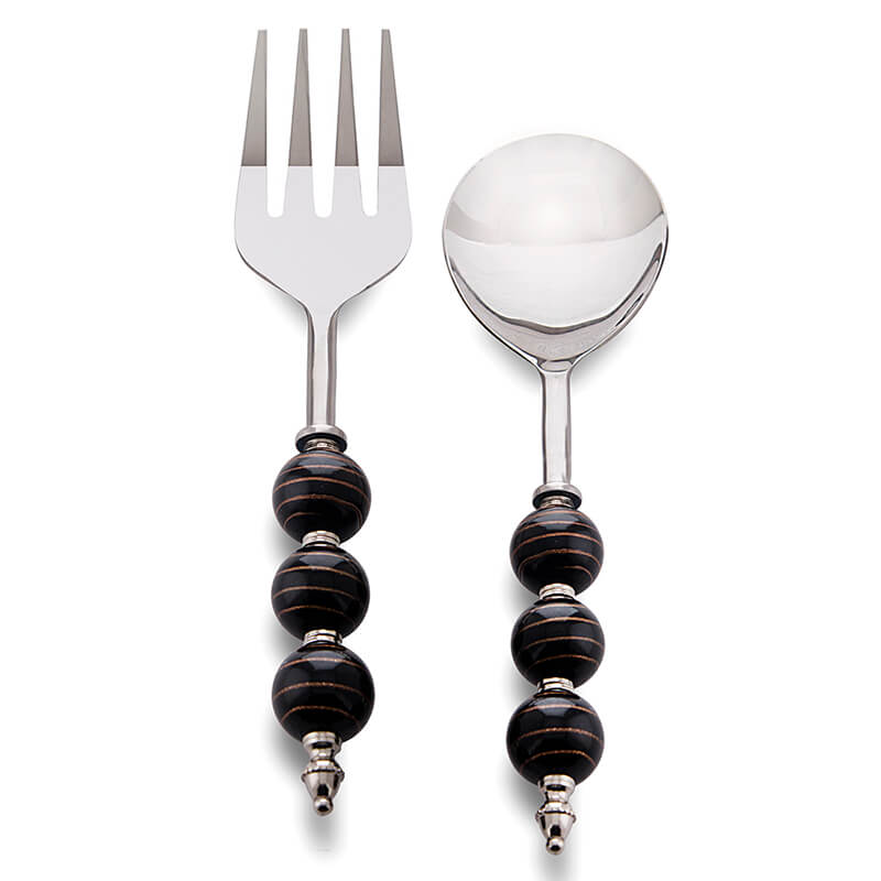 Noodle,Pasta Server and Serving Spoon Set of 2, Stainless Steel with Black-Golden Beads Handle