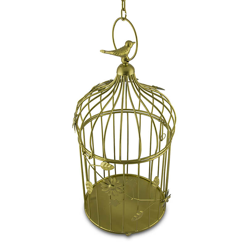 Golden Bird Cage with Floral Vine Large Single, with Hanging Chain